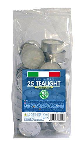 Cereria di Giorgio Risthò Tealight Con Cup, Cera, Bianco, 25 pezzi