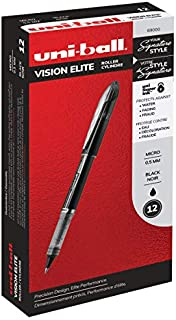 uni-ball Vision Elite Rollerball Pens, Micro Point (0.5mm), Black, 12 Count