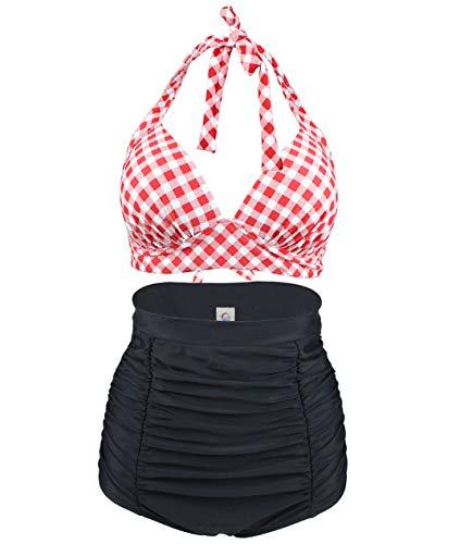 Viloree Retro 50s Damen Bademode Bikini Set Push Up Hoher Taille Bikinihose Bauchweg Kariert Rot & Weiss 3XL