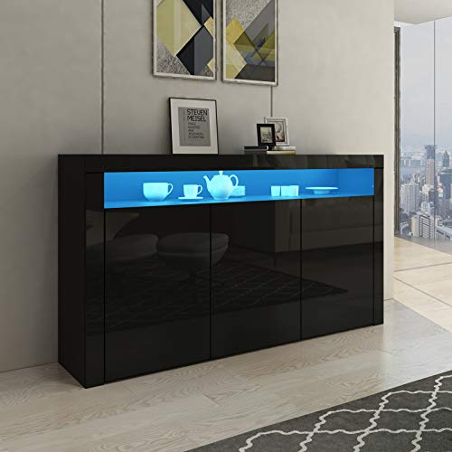 Senvoziii LED Sideboard Storage Cabinet Cupboard Unit 3 Doors with Open Case High Gloss TV Stand Unit for Dining Room Living Room (Black)