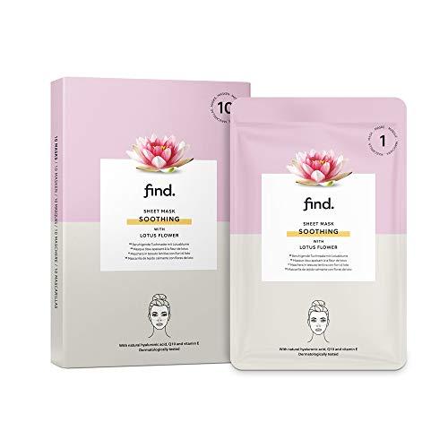 Amazon-Marke: find. Beruhigende Gesichtsmaske, Sheet Mask mit Lotosblüte, 10Stück