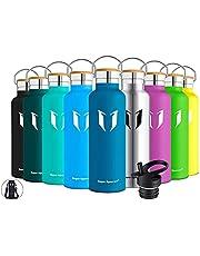 Super Sparrow Trinkflasche Edelstahl - 350ml, 500ml, 750ml, 1L - Auslaufsicher Thermoskanne, BPA-Frei Wasserflasche - Kohlensäure Thermosflasche für Kinder, Sprudel, Sport, Uni, Schule, Fitness, Outdoor, Camping