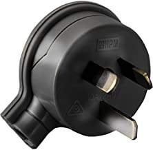 106/1BL 3 Pin Flat Plug Top Black HPM 106/1Bl Side Entry Rated: 10Amp 240Volts Ac Rated: 10Amp 240Volts Ac, Colour:Black