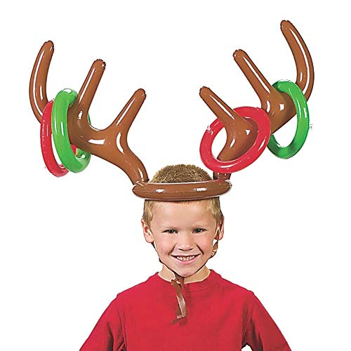Tinaa Inflatable Antler Hat Headband Deer Toss Game Toys Throwing Circle Funny Reindeer Tossing Toys