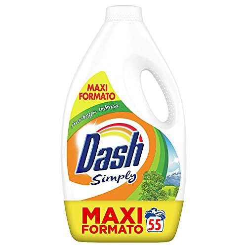 Dash Simply Detersivo Lavatrice Liquido, 55 Lavaggi, Freschezza Intensa, Maxi Formato, Pulizia Profonda, per Tutti i Capi