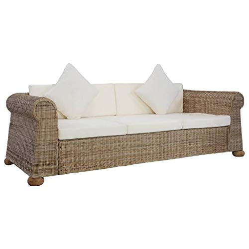 3-Sitzer-Sofa mit Kissen aus natürlichem Rattan, 195 x 78 x 67 cm, für Wohnzimmer, Garten, Sofa