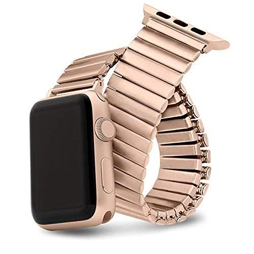 YMYGCC Correa Reloj Banda de Reloj elástica 38mm 40mm 44mm 42mm Mujer Banda de Acero Inoxidable 711 (Band Color : Rose Gold, Band Width : C 38 40mm)