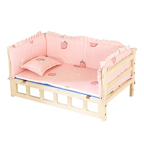 Dog Beds Wooden Dog Bed, Natural Pet Bed Dreamlike Princess Dog House with Removable Washable Bedspread Pillow, Wood Elevated Stairs Lounge (Color : Pink, Size : 54 × 39 × 39cm)