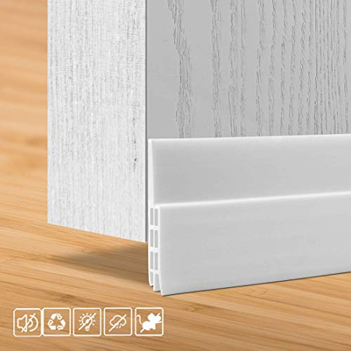 HULAMEDA Door Draft Excluder Strip, Self Adhesive Draft Excluder Tape for Noise Proof and Energy Saving, Door Bottom Seal Strip to Prevent Bugs Coming (White/2' Width x 39' Length)