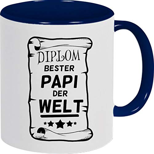 Shirtinstyle Kaffeepott Kaffeetasse, Diplom Bester Papi Der Welt, Familie, Verwandtschaft, Kaffee, Tee, Spruch, Motiv, Logo, Farbe Blau
