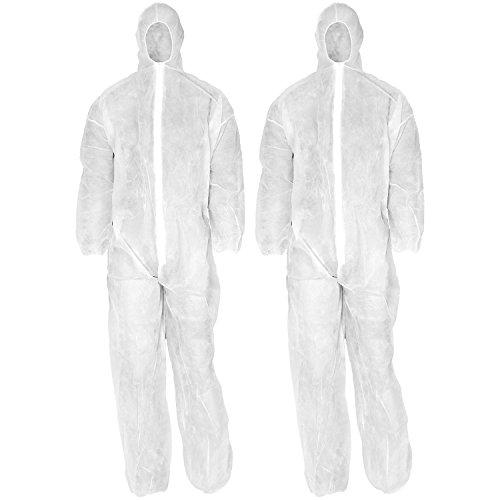 com-four® 2X Einweg-Schutz-Anzug in weiß mit Kaputze und Reißverschluss, Maler-Overall in Einheitsgröße zum Malern und Renovieren (02 Stück - Overall)
