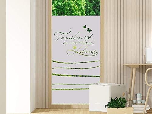 GRAZDesign Milchglas Folie Sichtschutz Streifen - für Glastür oder Duschwände Fensterfolie/Motiv: Familie Spruch für Wohnzimmer / 80x100cm Breite x Höhe