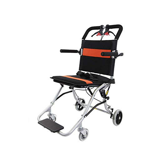 ZHONGXIN Portable Folding Transport Wheelchair with Brakes, Self Propelled Transit Wheel Chair- Transporation and Easy Storage, Compact Wheelchair for Elderly, Handicapped, and Disabled Users (C)