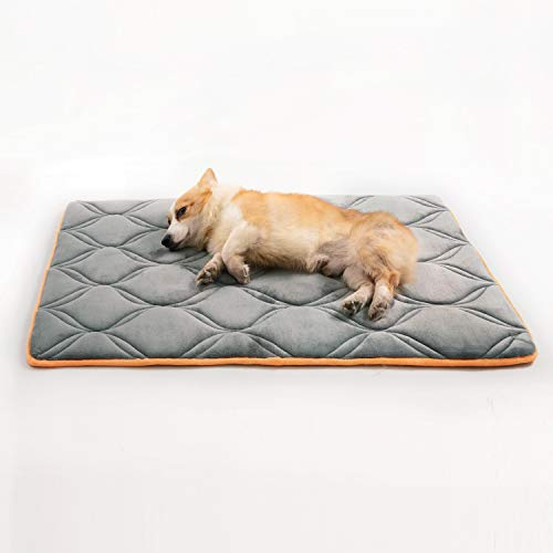 Petsure Memory Foam Dog Crate Pad for Small, Medium, Large Dogs & Cats - 40x27x1 Dog Crate Beds Suitable for 42 inches Crates - Orthopedic Dog Mat - Nonskid Bottom - Grey