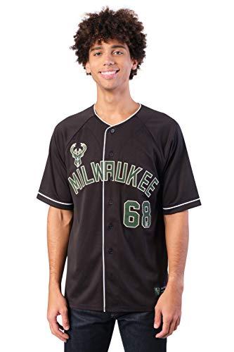 Ultra Game NBA Milwaukee Bucks Mens Mesh Button Down Baseball Jersey Tee Shirt, Black, Large