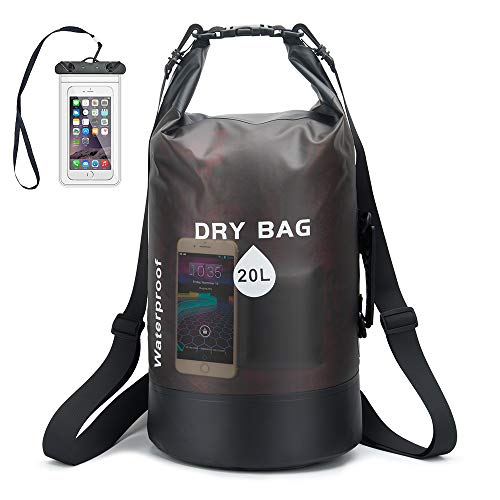 iValley 10L/20L Waterproof Dry Bag with Shoulder Stripe, Roll Top Sack Keeps Gear Dry for Kayaking,...