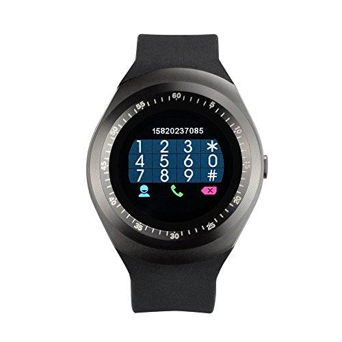 yuntab smartwatch Yuntab Y1Bluetooth Smart Watch Touch Screen Supporto Carta SIM con attività Tracking Pedometro Sonno Monitor Telecomando fotocamera per ios android smartphone nero