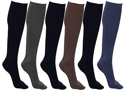 Women's Trouser Socks, 6 Pairs, Opaque Stretchy Nylon Knee High,...