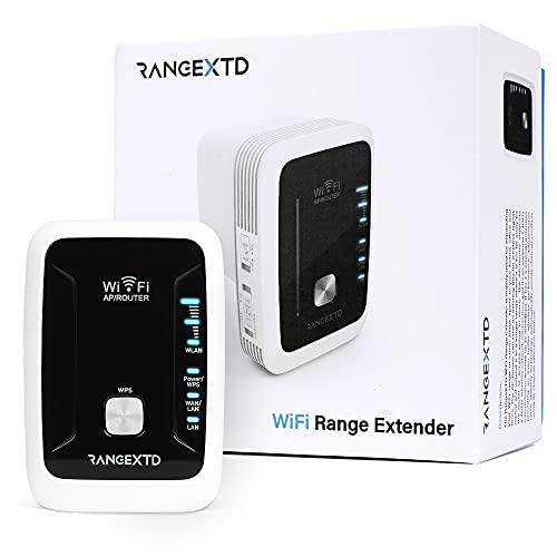 RANGEXTD WLAN Verstärker WiFi Repeater - Internet Verstärker für mehr WLAN-Reichweite | WLAN Repeater für bis zu 10 Geräte | Geschwindigkeit 300 Mbps | 2.4 GHz WLAN - Repeater