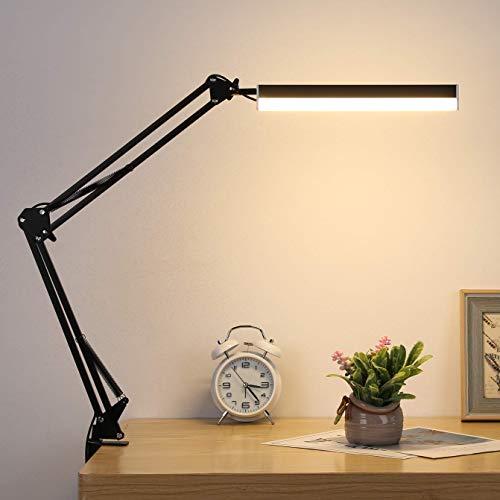 LMIX Lampada da Tavolo a Braccio Oscillante, Lampada da Scrivania a LED con Morsetto, Luce Moderna per Architetto...