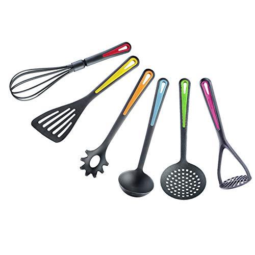 Westmark Küchenhelfer-Set, 6-tlg, Pfannenwender, Schaum-, Spaghettilöffel, Suppenkelle, Kartoffelstampfer, Schneebesen, PA, Colour Edition, 290222E6