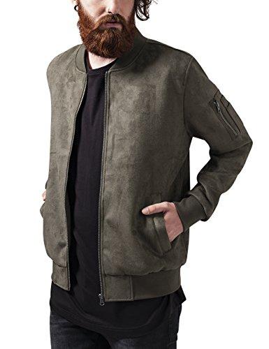Urban Classics Imitation Suede Bomber Jacket Giacca, Verde (Olive 176), S Uomo