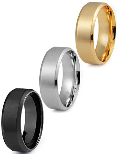 Jstyle Stainless Steel Rings for Men Wedding Ring Cool Simple Band 8 MM 3 Pcs A Set (10.5)