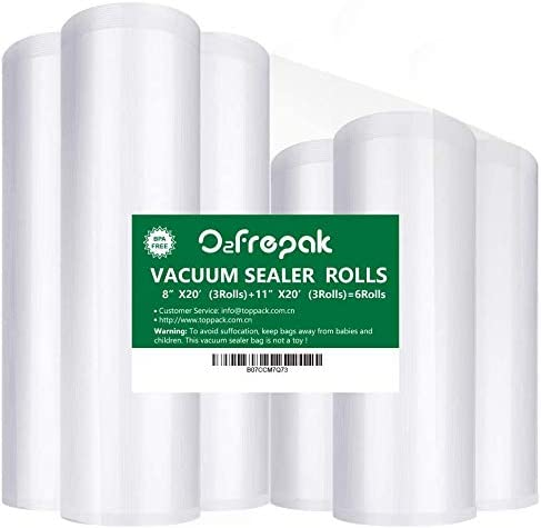 O2frepak 6Pack 8″x20′(3Rolls) and 11″x20′ (3Rolls) Food Saver Vacuum Sealer Bags Rolls with BPA Free,Heavy Duty Vacuum Sealer Storage Bags Rolls for Food Saver,Cut to Size Roll,Great for Sous Vide