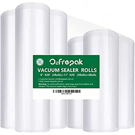 """O2frepak 6Pack 8""""x20'(3Rolls) and 11""""x20' (3Rolls) Food Saver Vacuum Sealer Bags Rolls with BPA Free,Heavy Duty Vacuum Sealer Storage Bags Rolls for Food Saver,Cut to Size Roll,Great for Sous Vide"""