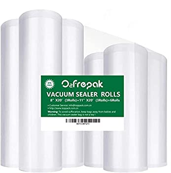 O2frepak 6Pack 8 x20  3Rolls  and 11 x20   3Rolls  Food Saver Vacuum Sealer Bags Rolls with BPA Free,Heavy Duty Vacuum Sealer Storage Bags Rolls for Food Saver,Cut to Size Roll,Great for Sous Vide