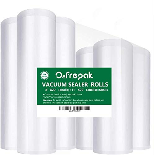 "O2frepak 6Pack 8""x20'(3Rolls) and 11""x20' (3Rolls) Food Saver Vacuum Sealer Bags Rolls with BPA Free,Heavy Duty Vacuum Sealer Storage Bags Rolls for Food Saver,Cut to Size Roll,Great for Sous Vide"