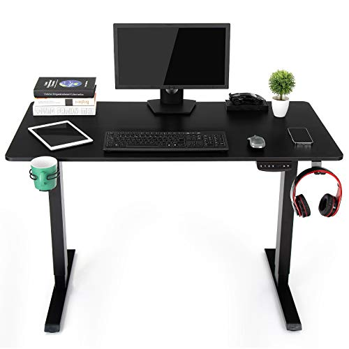 """OUTFINE Height Adjustable Standing Desk Electric Dual Motor Home Office Stand Up Computer Workstation (Black, 55"""")"""