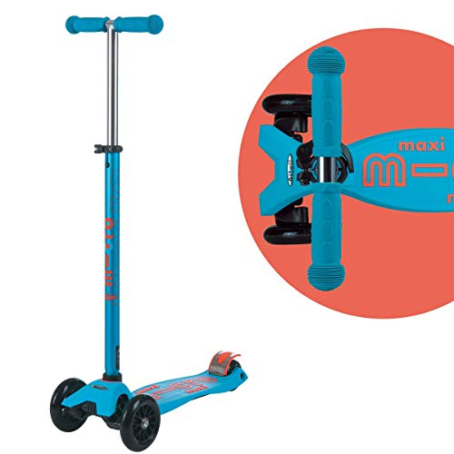 Micro Kickboard - Maxi Deluxe - Three Wheeled, Lean-to-Steer Swiss-Designed Micro Scooter for Kids with Non-Marking Wheels & Durable Design for Ages 5-12 (Caribbean Blue)