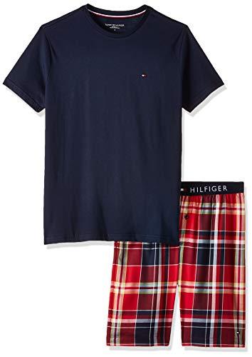 Tommy Hilfiger Herren Cn Ss Short Woven Set Check Zweiteiliger Schlafanzug, Blau, Large (Herstellergröße:)