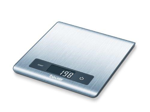Beurer KS51 - Balanza de cocina ultra plana (1,5 cm), 5 kg/1 gr, pesa líquidos, color plata