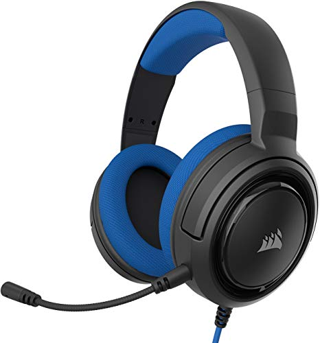 Corsair HS35 Stereo Gaming Headset (50 mm Nedymium luidsprekers, Afneembare unidirectionele microfoon, Vederlicht design, voor PC, XBOXOne, PS4, Nintendo Switch en mobiele apparaten) Zwart/Blauw