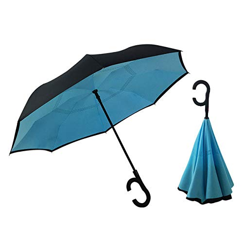 Hot C Handle Reverse Paraguas Hombre Mujer Sol Lluvia Coche Paraguas semiautomático Doble capa AntiSelf Stand -8