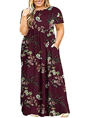 POSESHE Women's Plus Size Tunic Swing T-Shirt Dress Long Sleeve Maxi Dress with Pockets