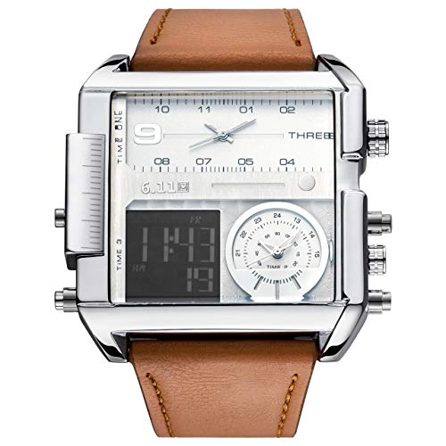JSDDE Men's Brown Square Digital Electronic Genuine Leather Band 3ATM Waterproof LCD Sport Watch Casual Business Quartz Military Multifunction Back Light