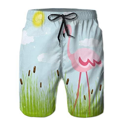 LJKHas232 Bañadores Divertidos para niños Adolescentes Pantalones Cortos de Secado rápido Ropa de Playa Flamingo Glade Bueno M