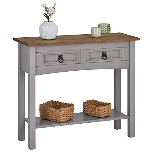 IDIMEX Table Console Ramon Table d'appoint rectangulaire en pin Massif Gris et Brun avec 2 tiroirs et 1 étagère, Meuble d'entrée Style Mexicain en Bois dim 90 x 73 x 35 cm
