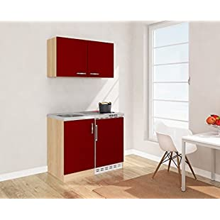 Customer reviews Respekta Mini Kitchen Kitchen 100cm including Wall Cabinet Front Red Mk 100Esrosc Imitation Rough Sawn Oak:Cartoonhd