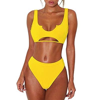 RXRXCOCO Womens Sexy Cutout Cheeky High Waisted Bikini High Cut Two Piece Swimsuits Swimwear Yellow Small