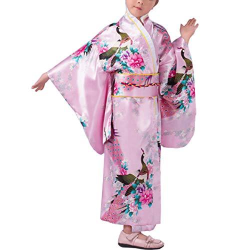 KRUIHAN Niños Yukata Vendimia Estilo Japones - Niña Kimono Tradicional Ropa Seda Tela Túnica Desgaste Boda Partido Actuación Vestido Rosado 150CM