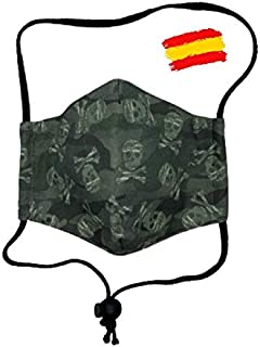 Mascarilla infantil de tela higiénica homologada UNE 0065 niño 10-12 años con filtro fijo lavable_marca: Brissa España