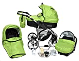 ALLIVIO, 3-in-1 Travel System with Baby Pram, Car Seat, Pushchair & Accessories (3in1 Travel System -Baby tub, Sport seat, Car seat, Black & Green)
