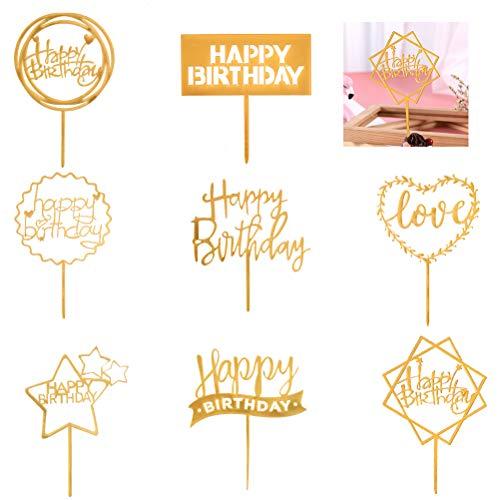 Cake Toppers per Torte Happy Birthday 8PCS, Torta Topper Decorazione per Torte e Cupcake, Toppers Torta Decorazione Compleanno Cake Topper per Bambini Adulti per Feste Anniversario (Oro/in Acrilico)