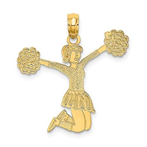 Colgante de oro de 14 quilates con pompones, diseño de animadora saltando
