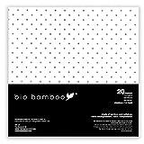 bio bamboo - BIO Patterns Pois 40x40 Tovaglioli monouso, Viscosa di bambù, Bianco con Stampa Nero, 20 pezzi