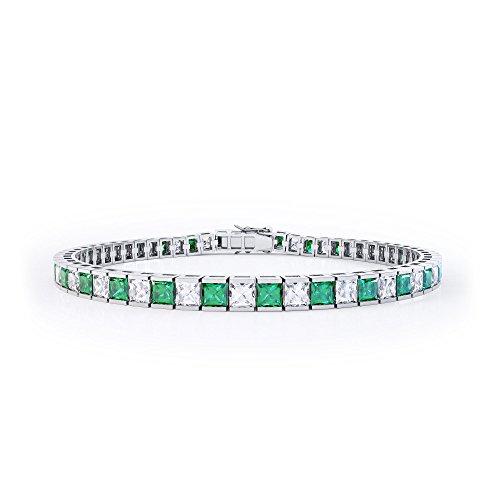 Bracciale Tennis in argento con Smeraldo e Diamante taglio Princess (19cm Oro bianco)